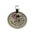 Pendente Aço Inox Medalhinha Anjo da Guarda - Prateado (25mm)