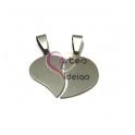 Pendente Aço Inox Coração em Metades Liso - Prateado (30x20mm)