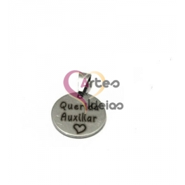 Pendente Aço Inox Querida Auxiliar - Prateado (15mm)