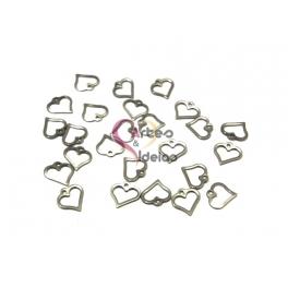 Conjunto Pendentes Aço Inox Coração Aberto - Prateado (12mm) - [25unds]