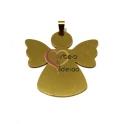 Pendente Aço Inox Medalha Anjo Liso Grande - Dourado (50mm)