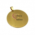 Pendente Aço Inox Medalha Lisa Grande - Dourado (40mm)