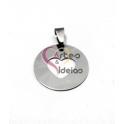 Pendente Aço Inox Medalha Recorte Coração - Prateado (25mm)