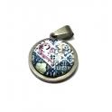 Pack Pendente Aço Inox com Cabuchon Azulejo M - Prateado (20mm)