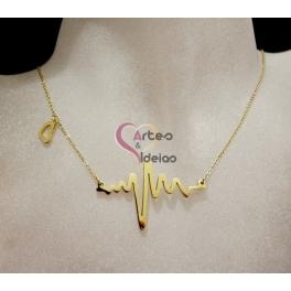 Fio Aço Inox Colecção Minimalista Heart beat com Coração - Dourado