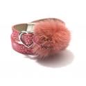 Pulseira Fluffy 2 Voltas Coração - Rosa