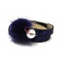 Pulseira Fluffy 2 Voltas Glitter e Pérola - Azul Escura