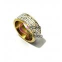 Anel Aço Inox Brilhantes - Dourado