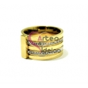 Anel Aço Inox Combo Liso Brilhantes - Dourado