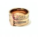 Anel Aço Inox Combo Liso Brilhantes - Dourado Rosa
