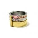 Anel Aço Inox Élégance - Prateado com Dourado e Dourado Rosa