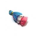 Pompom Pequeno Borla Tripla - Azul Claro, Branco e Rosa