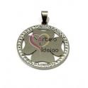 Pendente Aço Inox Medalhão Trevo com Brilhantes - Prateado (35mm)