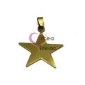 Pendente Aço Inox Estrela Lisa - Dourado (35mm)
