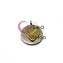 Pendente Aço Inox Medalhinha Coração Sobreposto - Prateado e Dourado (13mm)