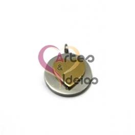 Pendente Aço Inox Medalhinha Coração Sobreposto - Prateado e Dourado (12mm)