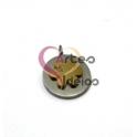 Pendente Aço Inox Medalhinha Flor Sobreposta - Prateado e Dourado (12mm)