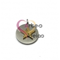 Pendente Aço Inox Medalhinha Estrela Sobreposta - Prateado e Dourado (12mm)