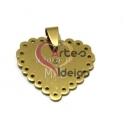 Pendente Aço Inox Coração Adoro-te Mãe - Dourado (27mm)
