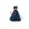 Pompom de Seda com Argola - Azul Petróleo com Rosa (20 mm)