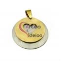 Pendente Aço Inox Duplo Medalha com Coração - Prateado e Dourado (30mm)