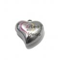 Pendente Aço Inox 3D Collection - Coração Liso Médio - Prateado (25mm)