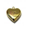 Pendente Aço Inox 3D Collection - Coração Liso Grande - Dourado (32mm)