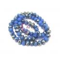 Fiada Contas Cristal Azul Cobalto Metade Cinza Metalizado (8x6mm)
