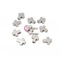 Pack 10 Contas Cruzes Hematites - Prateado Hematite (10x8mm)