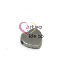 Conta Aço Inox Coração - Prateado (15mm)