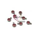 Pack 8 Pendentes Aço Inox com Brilhante [Rosa] - Prateado (6mm)