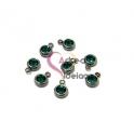 Pack 8 Pendentes Aço Inox com Brilhante [Verde Escuro] - Prateado (6mm)