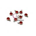 Pack 8 Pendentes Aço Inox com Brilhante [Vermelho] - Prateado (6mm)