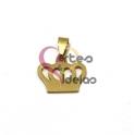 Pendente Aço Inox Coroa [Mod.2] - Dourado (15x15mm)