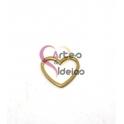 Pendente Aço Inox Coração em Aro - Dourado (15mm)