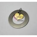 Pendente Aço Inox Círculo com Coração Avó - Prateado e Dourado (40mm)