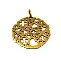 Pendente Aço Inox Medalhão Corações, Estrelas e Trevos - Dourado (52mm)