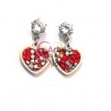 Brincos Aço Heart Shine Micro Crystals - Vermelho