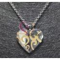 Colar Aço Inox Coração Desenho - Prateado com Dourado