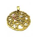 Pendente Aço Inox Medalhão Corações, Estrelas e Trevos - Dourado (40mm)