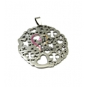 Pendente Aço Inox Medalhão Corações, Estrelas e Trevos - Prateado (40mm)