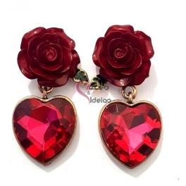 Brincos Fashion Mood 24710 - Rosas com Coração Fuchsia