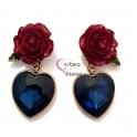 Brincos Fashion Mood 24712 - Rosas com Coração Azul