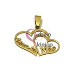 Pendente Aço Inox 2 Corações Adoro-te Mãe - Dourado (25x30mm)