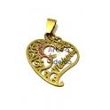 Pendente Aço Inox Coração Recortes Madrinha - Dourado (30x25mm)