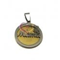 Pendente Aço Inox Mama - Prateado e Dourado (25mm)