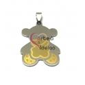 Pendente Aço Inox Ursinho Ursinho- Prateado e Dourado (38x28mm)