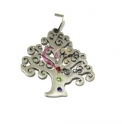 Pendente Aço Inox Medalhão Árvore 4 Brilhantes - Prateado (35x32mm)