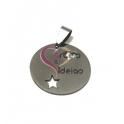 Pendente Aço Inox Medalha Lisa Recorte Coração e Estrela - Prateado (25mm)