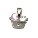 Pendente Aço Inox Coroa Recorte Coração - Prateado (17x17mm)